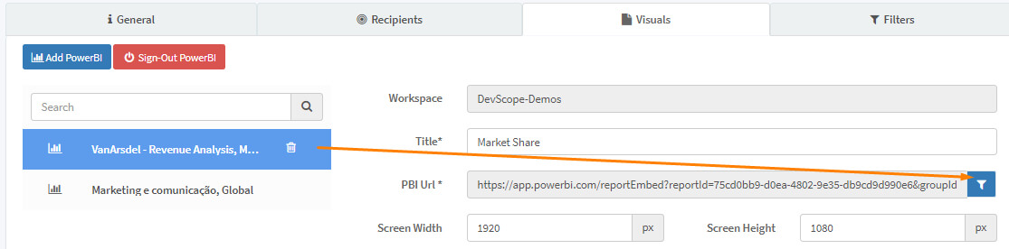 Filtering button in PowerBI Robots